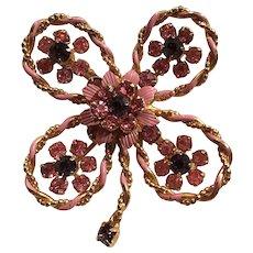 Beautiful Purple and Pink Rhinestone Flower Pin