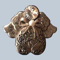 1996 Signed Jane Silvertone Rhinestone Angel Pin