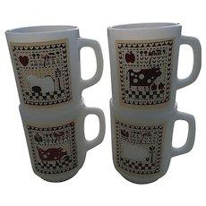 Set of Four 1981 Anchor Hocking Rodger Johnson Farm Design White Glass Mugs