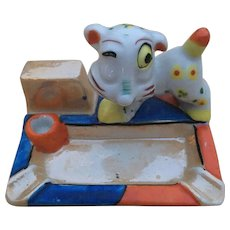 Japan Ceramic Luster Ware Dog Ashtray