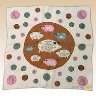 Designer Tammis Keefe Piggy Banks Handkerchief With Kimball Label Book Piece