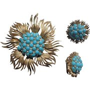 Starburst Corocraft Faux Turquoise Beads Rhinestone Pin and Clip Earring Set