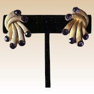 Trifari Purple Rhinestone Clip Earrings
