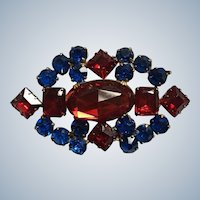 Art Deco Prong Set Red and Blue Rhinestone Pin