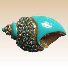 Turquoise Rhinestone Shell Pin