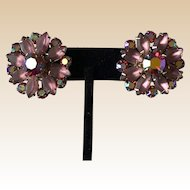 Coro Pink Rhinestone Clip Earrings