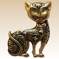 Spanish Damascene Figural Cat Pin