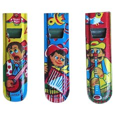Japan Tin Lithograph Whistle Set