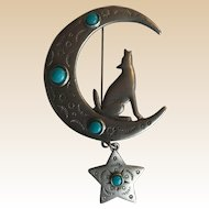 Jonette JJ Southwestern Coyote Star Moon Pin