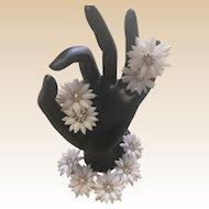 Coro Plastic White Daisy Bracelet and Clip Earring Set