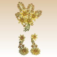 Retro Enamel Yellow Rhinestone Daisy Pin and Clip Earrings Set