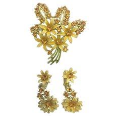 Retro Enamel Yellow Rhinestone Daisy Pin and Clip Earrings Set