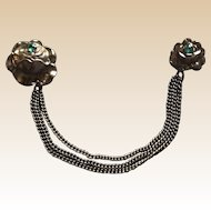 Art Deco Metal Rhinestone Chatelaine Pin