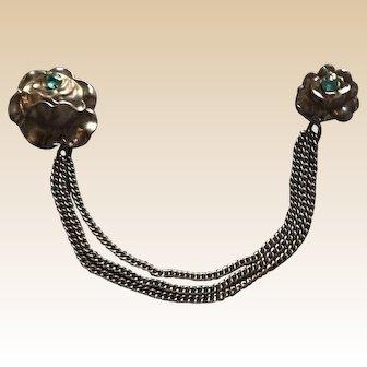 Art Deco Metal Rhinestone Chatelaine Pin