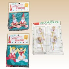 Vintage Christmas Angel Elves Tie Ons and Stick Ons