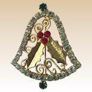 Multi Rhinestone Christmas Bell PIn