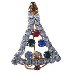 Multi Color Rhinestone Christmas Tree Pin