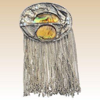 Large Modernist  Brutalist Art Silver Tone Abalone Tassel Pin