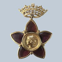 Unusual Gold Tone Crown with Purple Glass Medallion Pin