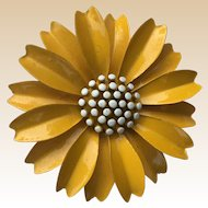 Crown Trifari Yellow Enamel Flower Pin