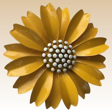 Crown Trifari Yellow Enamel Flower Pin