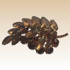 Brown Rhinestone Delizza and Elster Juliana Leaf Pin