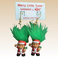 New 1980's Russ Merry Little Troll's Doll Christmas Earrings