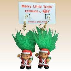 New 1980's Russ Merry Little Troll's Doll Christmas Earrings