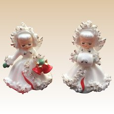 1958 Holt Howard Christmas Angel Candle Holder Set
