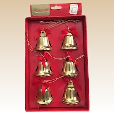 Vintage Woolworths Brass Christmas Bell Ornaments