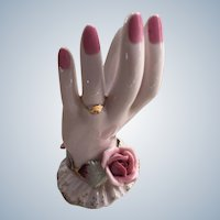 Lefton Pink Hand Figurine Ring Holder