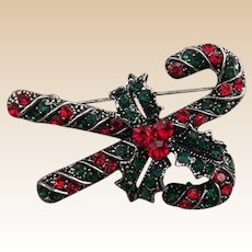 Rhinestone Marquisette  Candy Cane Christmas Pin