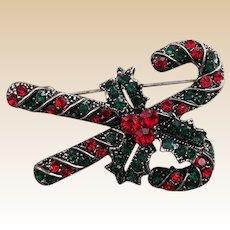 Rhinestone Marquisette  Candy Cane Christmas Pin
