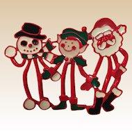 Unusual Enamel Snowman Elf and Santa Claus Christmas Pin