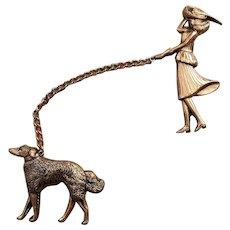 Adolph Katz Coro Elegant Lady Walking Her Borzoi Wolfhound Dog Chatelaine Pin Set