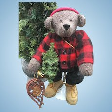 Large Handmade Winter Bear With Snowshoes