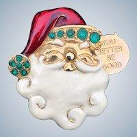 Santa Claus Head Enamel Rhinestone Pin