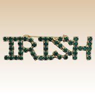 Green Rhinestone Irish Pin