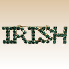Green Rhinestone Irish Pin