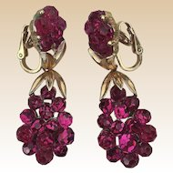 1966 Crown Trifari Briolette Fushsia Rhinestone Clip Earrings Book Piece