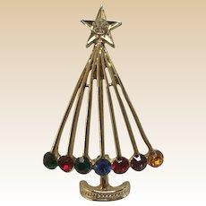 Moderistic Rhinestone Silvertone Christmas Tree Pin