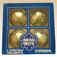 Green Glass Shiny Brite Poloron Ornament Set of Four in Box