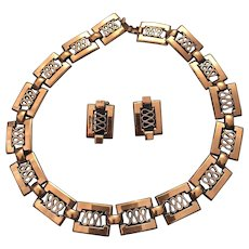Renoir Copper Choker Necklace and Clip Earring Set Book Piece