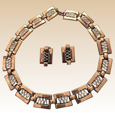 Renoir Copper Choker Necklace and Clip Earring Set Book Piece