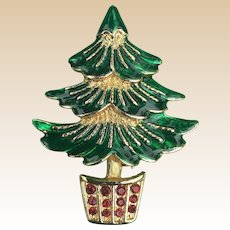SFJ Enamel Rhinestone Christmas Tree Pin