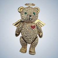 1990's Batya Articulated Teddy Bear Angel Pin/Pendant