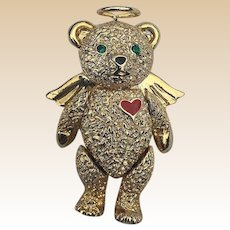 1990's Batya Articulated Teddy Bear Angel Pin/Pendant