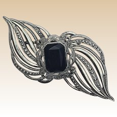 Large Silver Tone Black Stone Scroll Pin