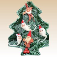 Chenille Santa Ornament Set