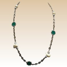 Kenneth Lane Gold Tone Chain Necklace with Turquoise and White Gems